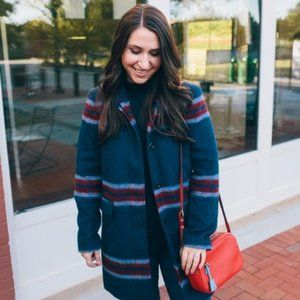⬇️$85 Loft Blue Plaid Wool Coat Trench